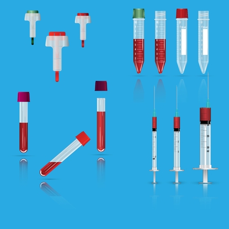 Syringes, vials and lancets Realistic vector illustrations isolated on plain background. Illustration