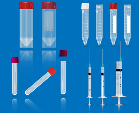 Several empty tubes for blood, syringes and Containers for general clinical analysis of urine