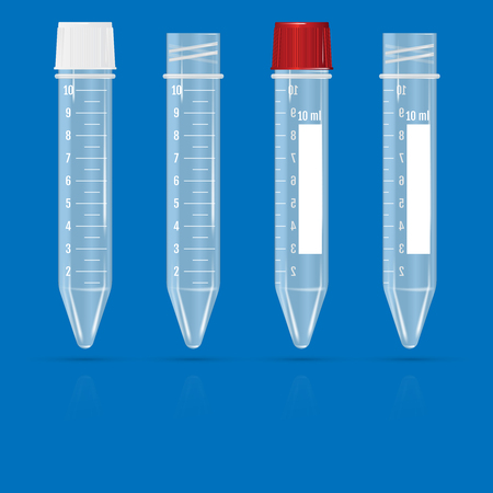 Test tubes on a blue background Vector illustration isolated on plain background.
