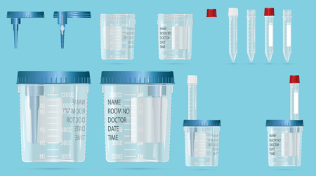 Modern realistic 3d vials and vacuum containers with lid and needle for blood sampling Vector illustration