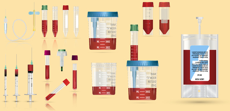 Realistic medical supplies. For blood collection set, for short term, laboratory test-tubes and syringes. Vector illustration on yellow  background. 3d