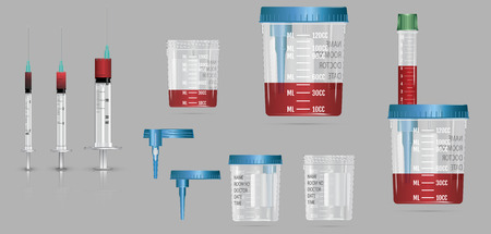 Modern realistic 3d vacuum container with lid and needle for blood sampling, bio-materials and analysis.