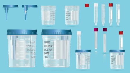 Modern realistic 3d  vials and vacuum containers with lid and needle for blood sampling, biomaterials and analysis. Cover device and practical scheme of work. Vector