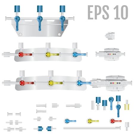 Los dispositivos de conversión forman parte del sistema para infusiones intravenosas con. Parte del kit de monitoreo de presión. Vector. Partes del sistema para infusiones intravenosas.