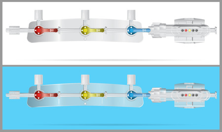 Converting devices part of the System for intravenous infusions with. Part of pressure monitoring kit. Vector. Parts of the system for intravenous infusions Illustration