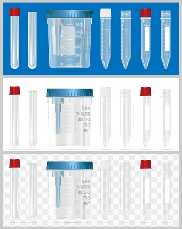 Sterile containers for analysis. Open and closed containers. Set of lids for containers for analysis. Sterile medical containers for bio-material. Illustration
