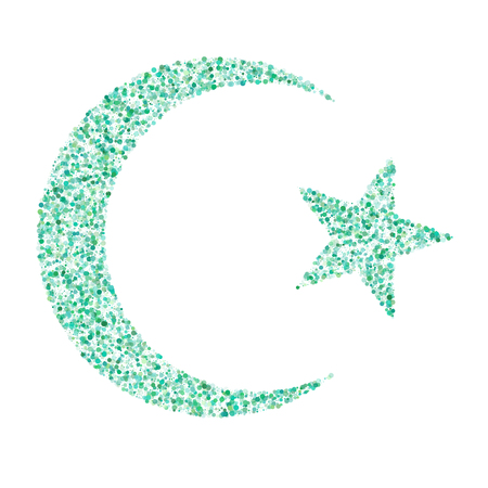 Star and crescent - symbol of Islam  icon for apps and websites, green polka dots concept Illustration