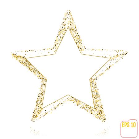 Golden Christmas star isolated on white background Illustration