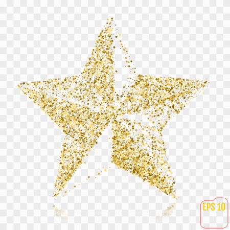 Golden Star. Gold stars confetti concept. Gold holiday background. Illustration