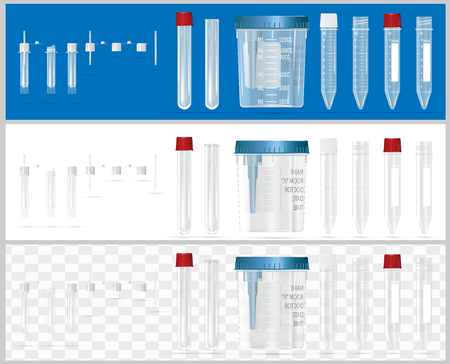 Sterile containers for analysis. Open and closed containers. Set of lids for containers for analysis. Sterile medical containers for biomaterial.