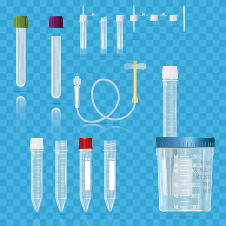 Realistic medical supplies. For blood collection set, for short term, laboratory test-tubes, tube and syringes. Vector illustration on transparent background.