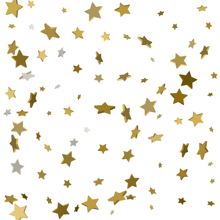 Gold stars. Confetti celebration, Falling golden abstract decoration for party