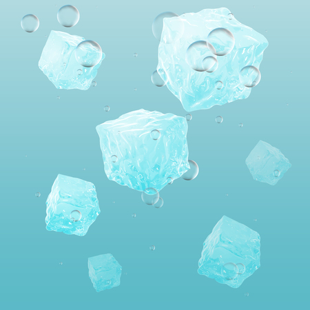 A lot of ice cubes in water, vector illustration