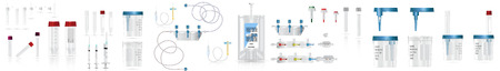 Big bag of intravenous antibiotics and plastic infusion set. System for intravenous infusions with a converting device. Tube and blood collection set. Vector