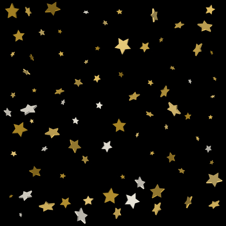 Abstract pattern of random falling gold stars on black background. Glitter pattern for banner, greeting card, Christmas and New Year card, invitation, postcard, paper packaging. Vector illustration