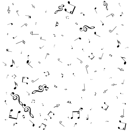 Vector pattern with music notes on white background. Illustration