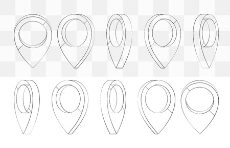 Map pointer set. Maps pin inverted drop shaped icon to mark location. Vector hand drawn style cartoon illustration. Black and transparent elements 向量圖像