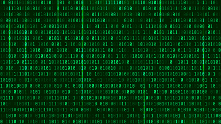 Matrix Background Style. Computer virus and hacker screen wallpaper. Green is dominant color. The Matrix format 16:9