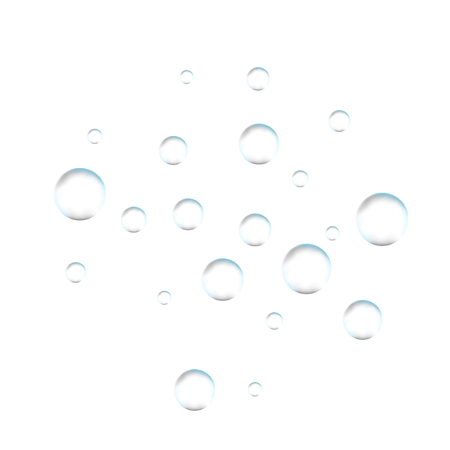Underwater fizzing air bubbles on white background. Fizzy sparkles in water, sea, aquarium, ocean. Effervescent drink. Undersea vector texture.