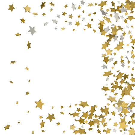 3d gold frame or border of random scatter golden stars on white background. Design element for festive banner, birthday and greeting card, postcard, wedding invitation. Vector illustration