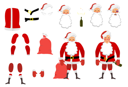 Vector illustration of a tired Santa Claus set for animation. Hands, legs and parts of clothes can be moved. Christmas and New Year. Classical red clothes. Cigarettes and booze.