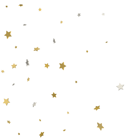 Holiday starry background. Gold stars. Confetti celebration, Falling golden abstract decoration for party, birthday celebrate, anniversary or event, festive. Festival decor. Vector illustration.