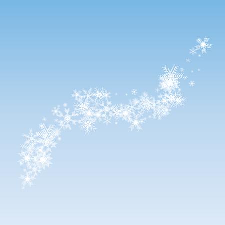 Wave snowflake background - stock vector. White snowflakes on blue