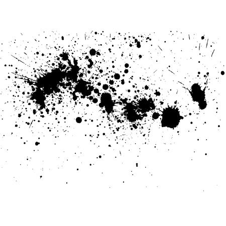 Schwarzer Tintenspritzerhintergrund, getrennt auf Weiß. Alle Elemente sind nicht gruppiert. Vektor-Illustration.