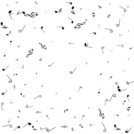 Vector abstract musical background. Black notes on white