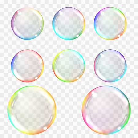 Soap bubble. Set of multicolored transparent bubbles with glares, highlights and gradient. Transparency only in vector format. Can be used with any background.