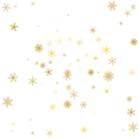 Gold snowflake winter background. Golden snowflakes on white. Vector
