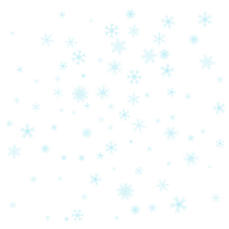 Christmas falling snow vector isolated on white background. Snowflake decoration effect. Xmas snow flake pattern. Magic blue snowfall texture. Winter snowstorm backdrop illustration.