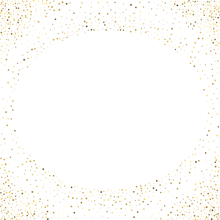 Golden splash or glittering spangles round frame with empty center for text. Golden glittering circle made of tiny uneven round dots on white background. Vector illustration.