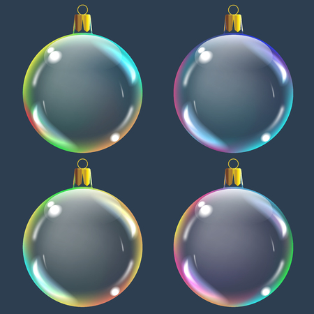 Vector realistic transparent colored Christmas balsl on a dark abstract background