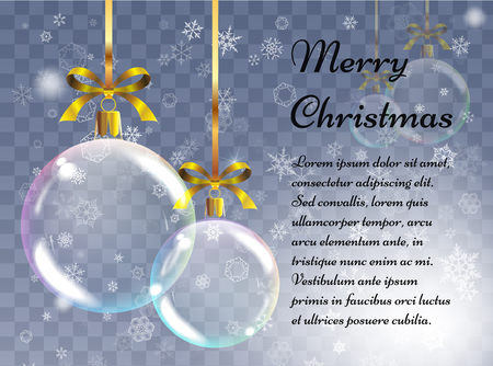 Christmas background with realistic balls. Xmas baubles. Greeting card with vector realistic transparent colored Christmas balls