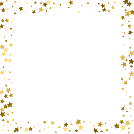 Gold stars on a white background. Vector IIlustration. Golden stars on a white square background. Template for holiday designs, invitation, party, birthday, wedding.