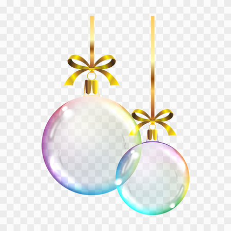 Vector realistic transparent colored Christmas balls on a square background showing the transparency of objects