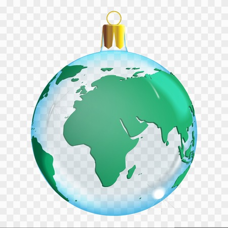 Template of glass transparent Christmas ball. Stocking element christmas decorations. Transparent vector object for design, mock-up. Shiny toy with 3d world map. Isolated object. Vector illustration.
