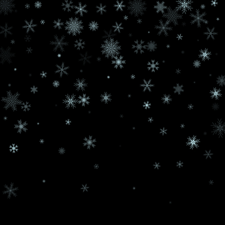 Christmas falling snow vector isolated on dark background. Snowflake decoration effect. Xmas snow flake pattern. Magic snowfall texture. Winter snowstorm backdrop illustration.