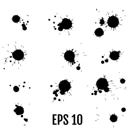 Farbflecken mit schwarzer Tinte. Tropfenbeschaffenheit lokalisiert auf weißem Hintergrund. Stellen Sie für Schmutzspritzerbeschaffenheiten ein. Vektor-Illustration. Vektorgrafik