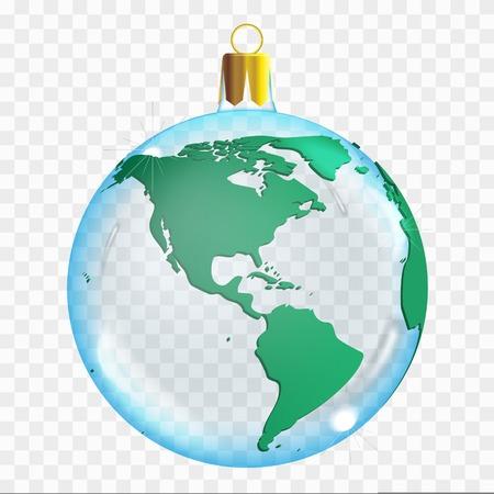 Template of glass transparent Christmas ball. Stocking element christmas decorations. Transparent vector object for design, mock-up. Shiny toy with 3d world map. Isolated object. Vector illustration. 矢量图像