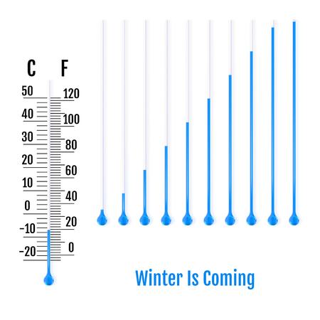 L'hiver arrive le concept. Ensemble de tube capillaire réaliste avec fluide et ampoule. Parties de thermomètres à liquide. Échelle de mesure de la température en Celsius et Fahrenheit. Vecteur Vecteurs