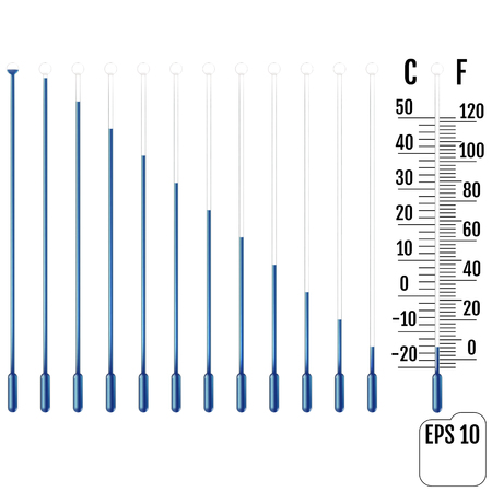 Ensemble de tube capillaire réaliste avec chambre de fluide, ampoule et surcharge. Parties de thermomètres à liquide. Échelle de mesure de la température en Celsius et Fahrenheit. Concept d'hiver et froid. Vecteur