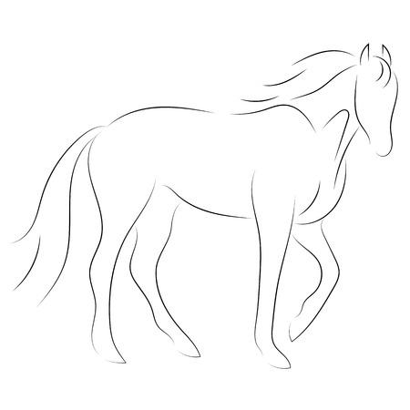 Zwarte lijn paard op witte achtergrond. Vector icoon