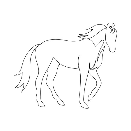 Black line horse on white background. Vector icon drawn by one continuous line Illustration