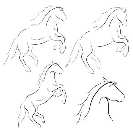 Black line horse on white background. Vector icons set