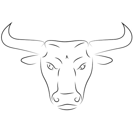 Black line bull head on white background. Hand drawing vector. Sketch style graphic animal. Stock Vector - 112121949