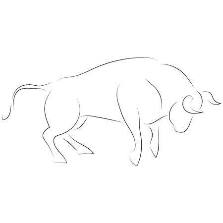 Black line attacking bull on white background. Hand drawing vector. Sketch style graphic animal. Illustration