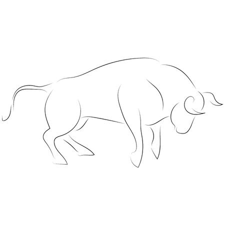 Taureau d'attaque de ligne noire sur fond blanc. Vecteur de dessin à la main. Animal graphique de style croquis.