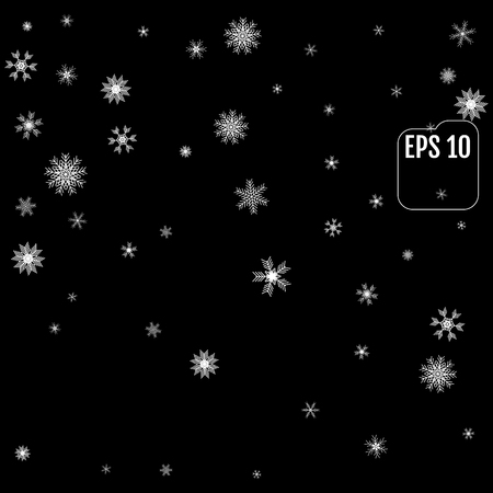 Falling snow on a black  background. Vector illustration. Abstract snowflake background. Fall of snow.